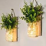 Mason Jar Sconces, Home Decoration, Rustic Wall Sconces, LED Fairy Lights, Green Fake Plant, Interior Decoration Warm…