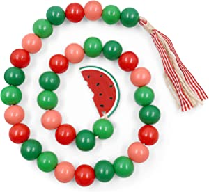 Huray Rayho Watermelon Wood Bead Garland with Tassels Farmhouse Decor Natural Wood Bead Strings Rustic Summer Home Tiered Tray Decor Kitchen Rae Dunn Decorations