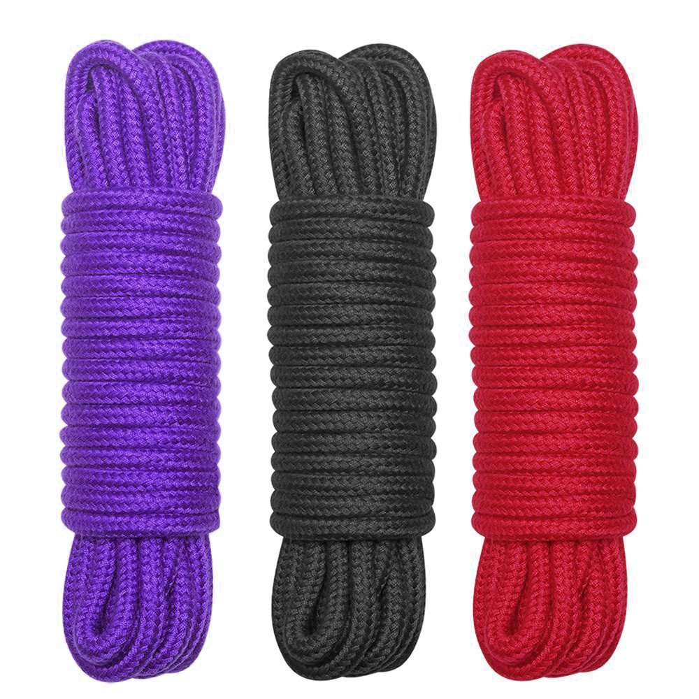 All-Purpose Color Cotton Twisted Rope - Soft and Sturdy, Knot Tying Rope 32 Feet Length,1/3-Inch Ditameter (Black, red, Purple) LIMTED TIME Offer