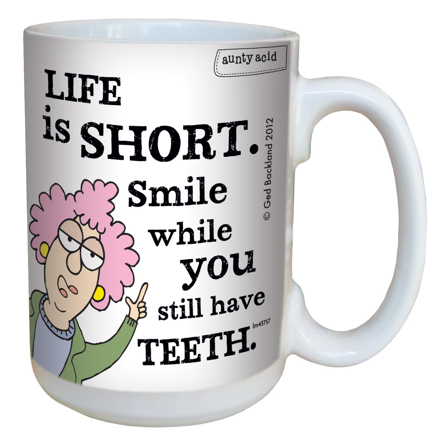 Tree-Free Greetings lm43757 Hilarious Aunty Acid Life is Short by The Backland Studio Ceramic Mug, 15-Ounce