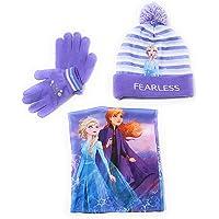 Gorro, Bufanda tubular y Guantes Frozen Disney para niñas - Set de invierno Disney Frozen Gorro, Braga de Cuello con…
