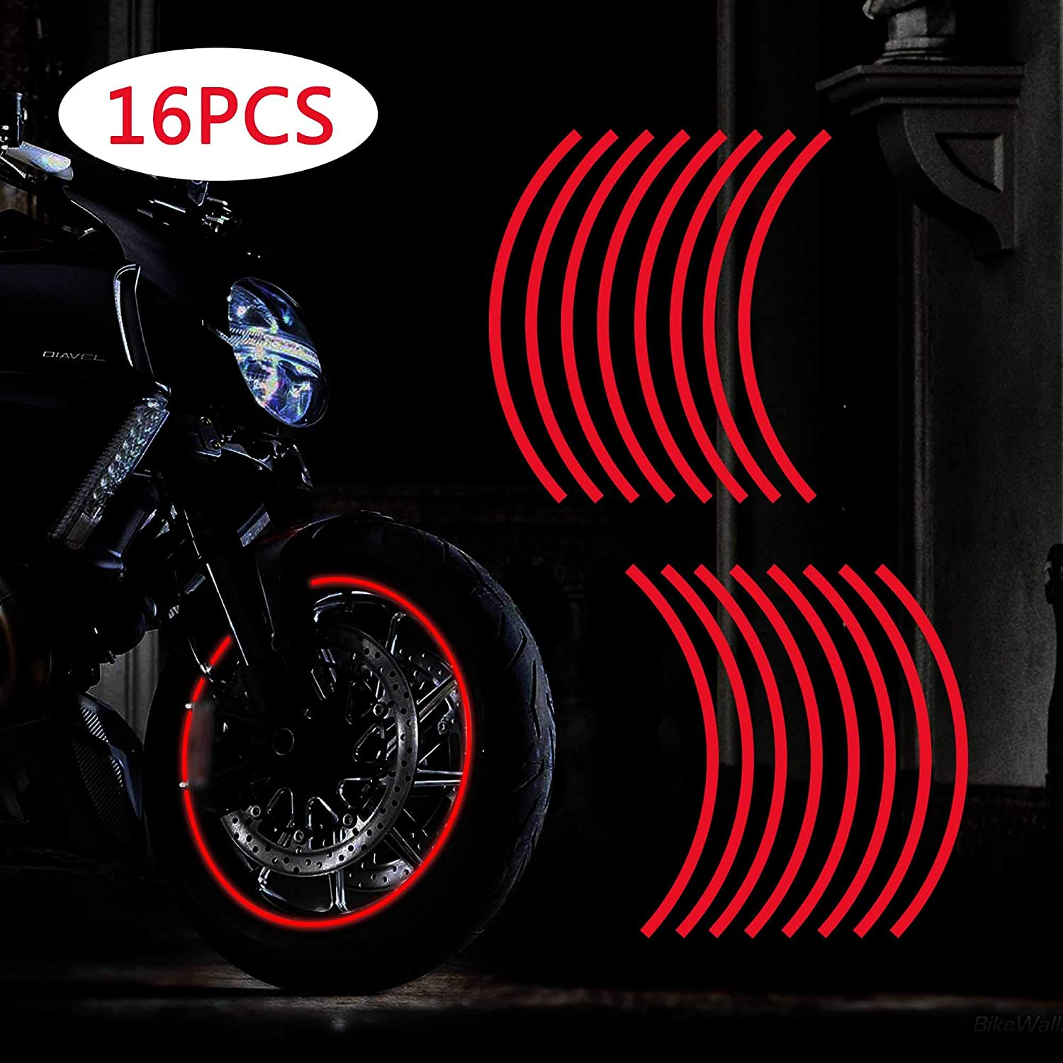 TOMALL 17-19 Reflective Wheel Rim Stripe Decal for Motorcycle Wheels Car Cycling Bike Bicycle Night Reflective Safety Decoration Stripe Universal Rim Reflective Stickers Blue