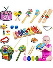 Buself Musical Instruments Toys for Toddlers-15 Types Wooden Percussion Instruments for Kids with Adorable Backpack Storage Bag (26 PCS)