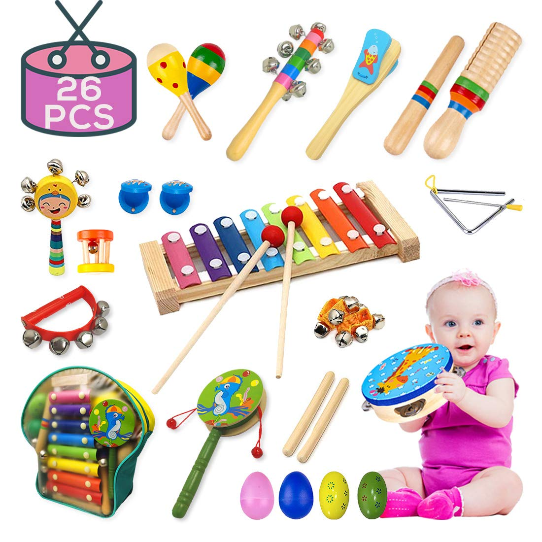 Buself Musical Instruments Toys for Toddlers-15 Types Wooden Percussion Instruments for Kids with Adorable Backpack Storage Bag (26 PCS) by Buself