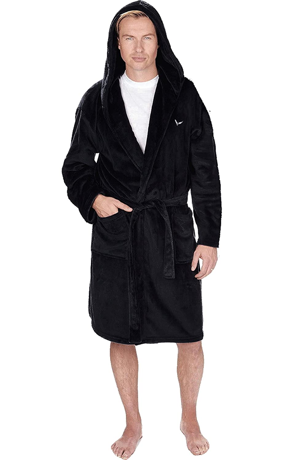 INSIGNIA Mens Luxury Flannel Fleece Hooded Dressing Gown Robes Wrap Loungewear HT043