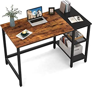 CubiCubi Computer Home Office Desk, 47 Inch Small Desk Study Writing Table with Storage Shelves, Modern Simple PC Desk with Splice Board, Rustic Brown and Black