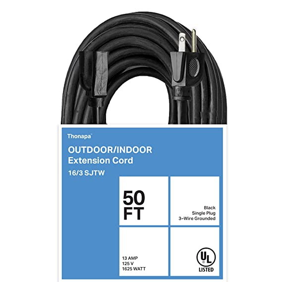 Thonapa 50 Ft Black Extension Cord - 16/3 Electrical Cable with 3 ...