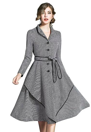 a8618546c9169 YiJee Femme Classique Élasticité Robe de Manches Longues Hiver Élégant  Swing Robe Longue S