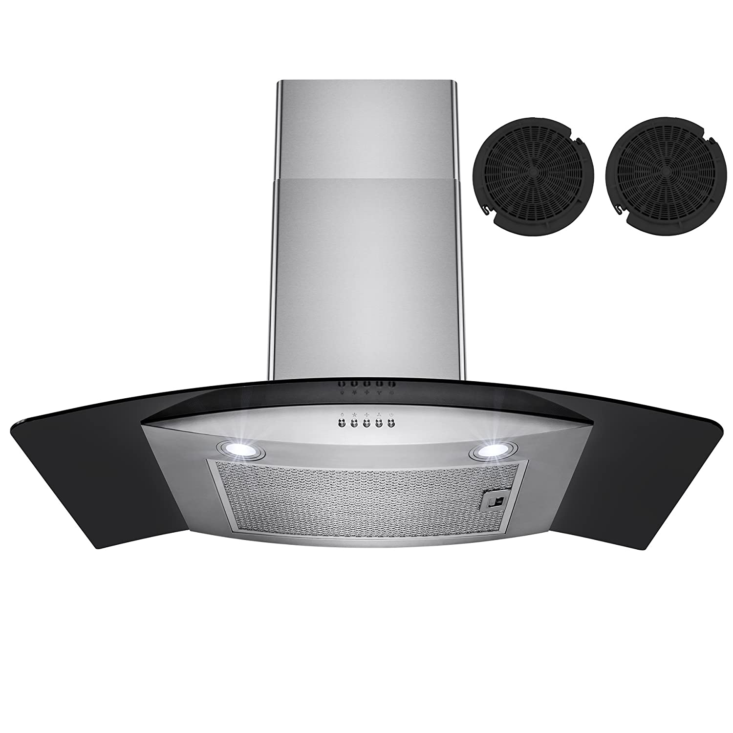 Firebird 30 European Style Wall Mount Stainless Steel Ductless Range Hood Vent W/ Touch Panel Control Free Carbon Filters FB-RH0192