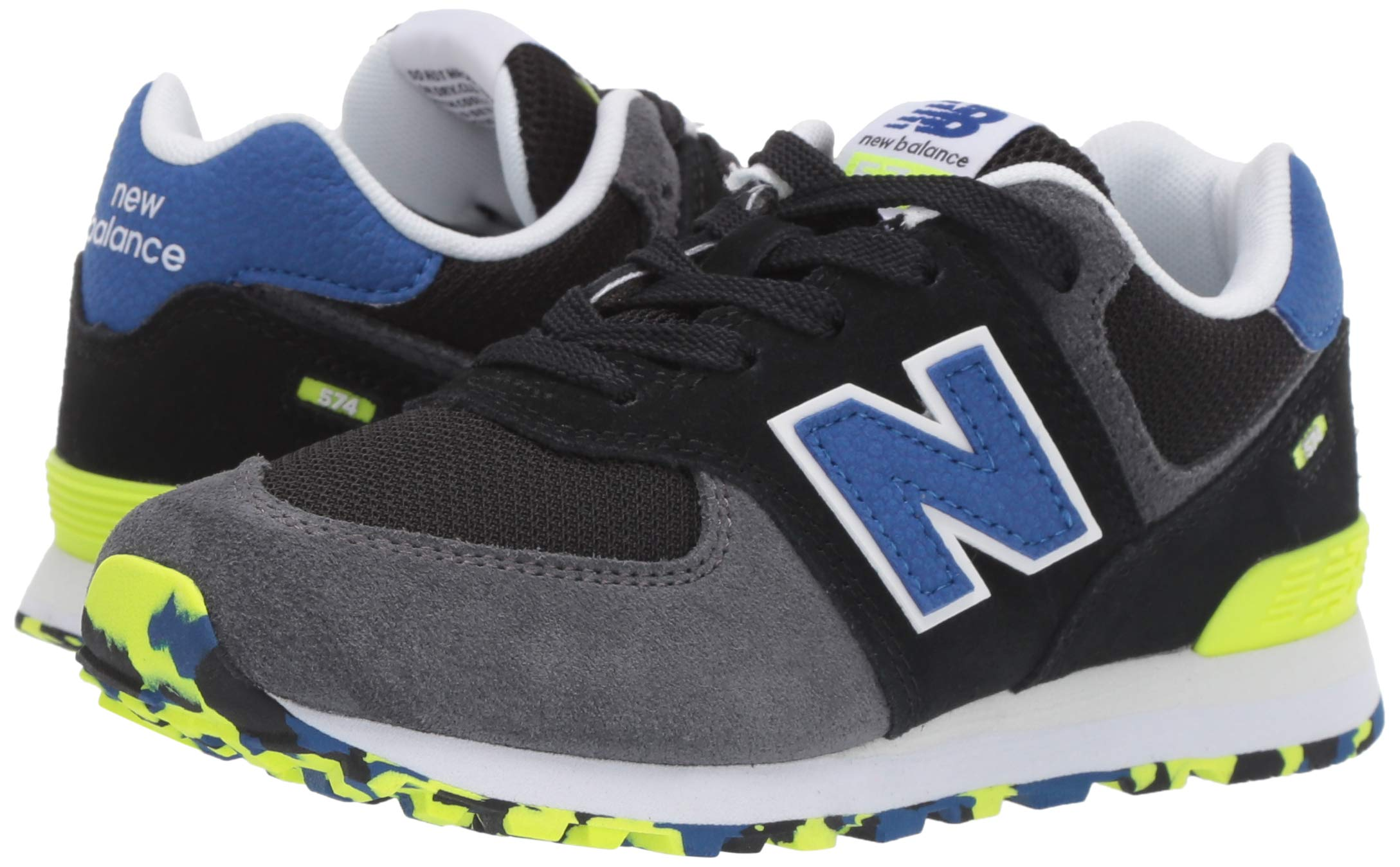 New Balance Boys' Iconic 574 Sneaker Black/Royal Blue 4.5 M US Big Kid by New Balance (Image #6)