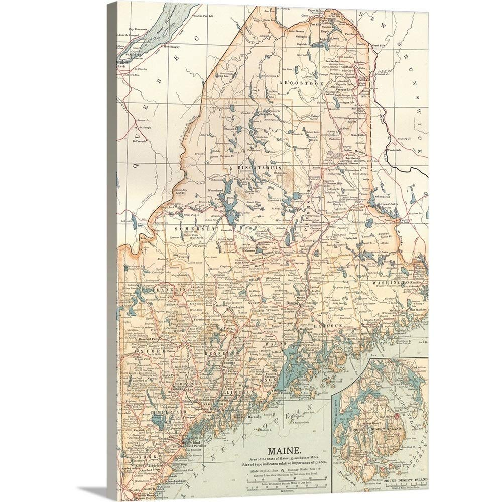 picture about Printable Map of Maine referred to as : Maine - Typical Map Canvas Wall Artwork Print, 12