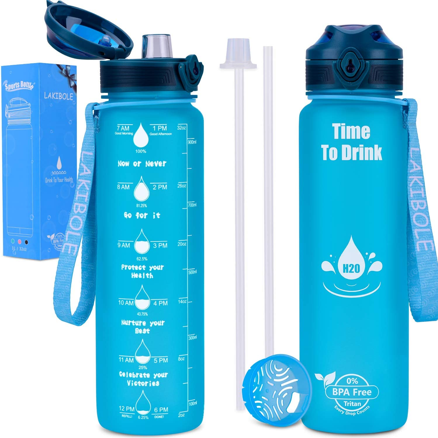 LAKIBOLE 32 oz Water Bottle with Straws with Time Marker, Time to Drink Water Bottle for Office, Gym, Home, Health Gift