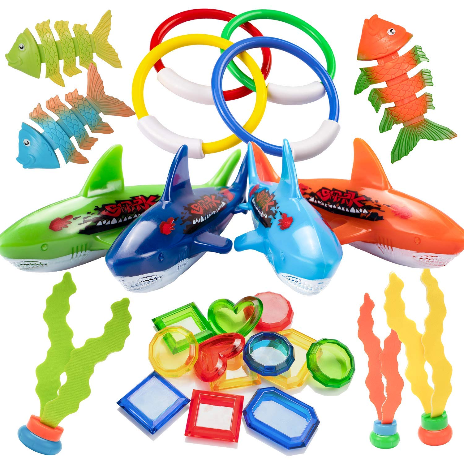 UNEEDE 26PCS Diving Pool Toys Underwater Swimming Pool Toys Including (4) Diving Rings (4) Toypedo Bandits (3) Stringy Octopus (3) Diving Fish and (12) Treasures Gift Set for Kids, Ages 3 and Up