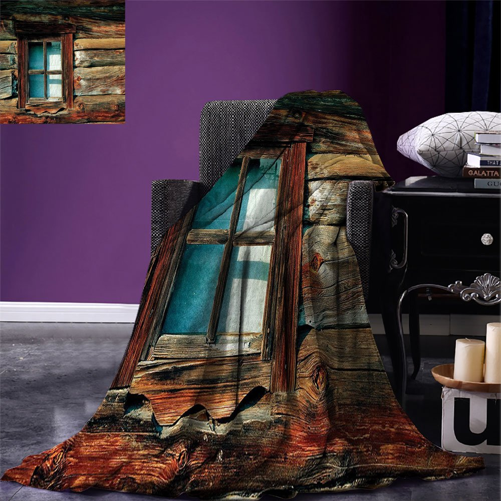 smallbeefly Scenery Digital Printing Blanket Single Window with White Curtain on a Wooden Background Lumberjack House Photo Summer Quilt Comforter Brown and Blue