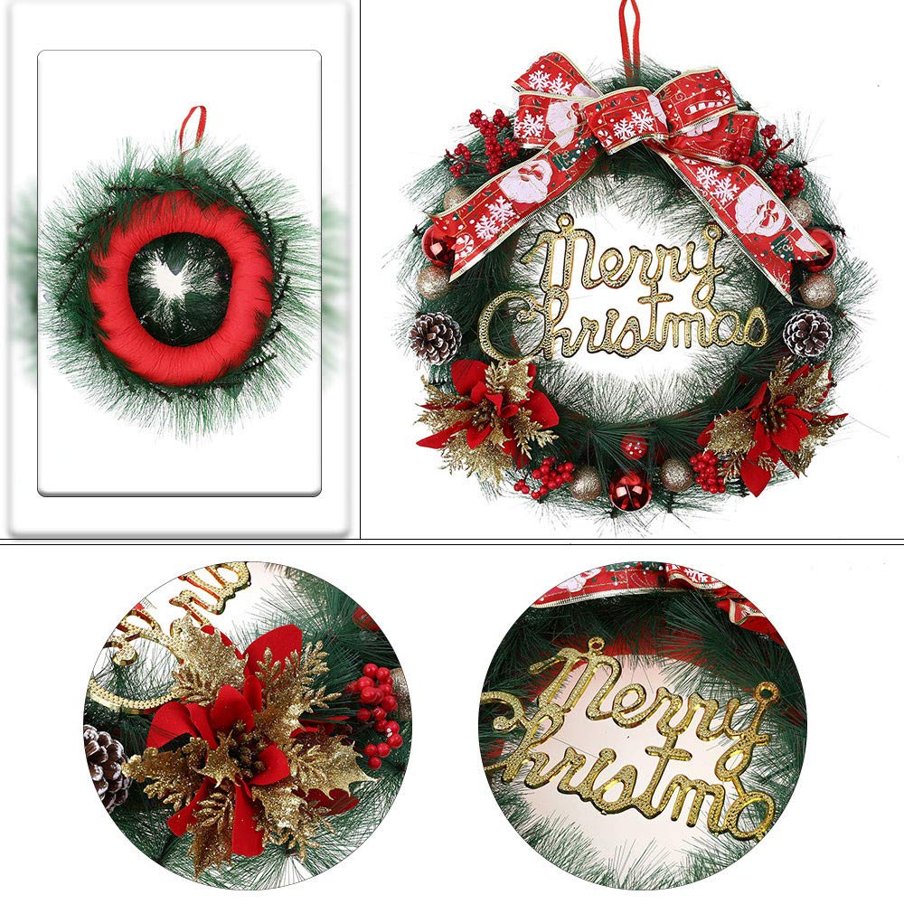 Promisen Christmas Wreath,30CM Merry Christmas Decorated Pine Wreath with Color Balls,Pine Cones, Artificial Garland Holiday Wreath for Christmas Party Decor, Front Door Wreath (Red) by Promisen (Image #4)