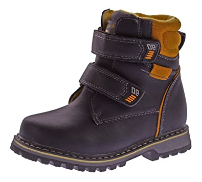 dcd6c5709fdd22 Kinder Winter Knöchel Schuhe gefüttert Jungen Mädchen Boots Kunst Leder  Stiefel Klett Navy Gr. 37