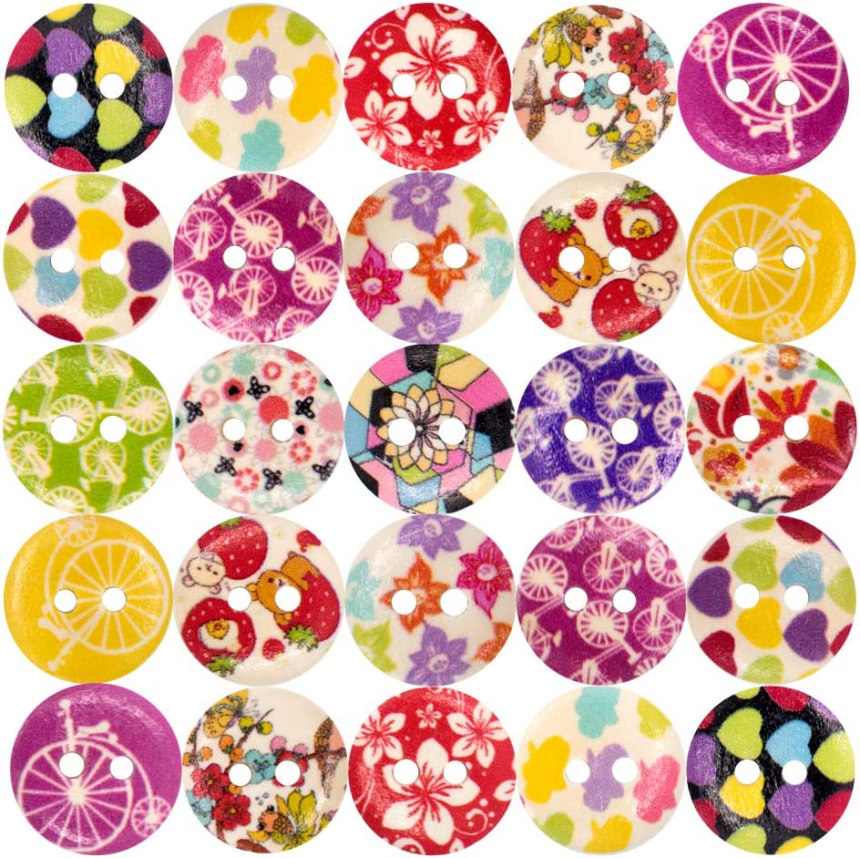 Rainbow DIY,Childrens Manual Button Painting 200pcs Mixed Resin Sewing Wooden Buttons Size 15mm 2 Holes Round Colorful Decorative Craft Buttons for Sewing Crafting Scrapbooking