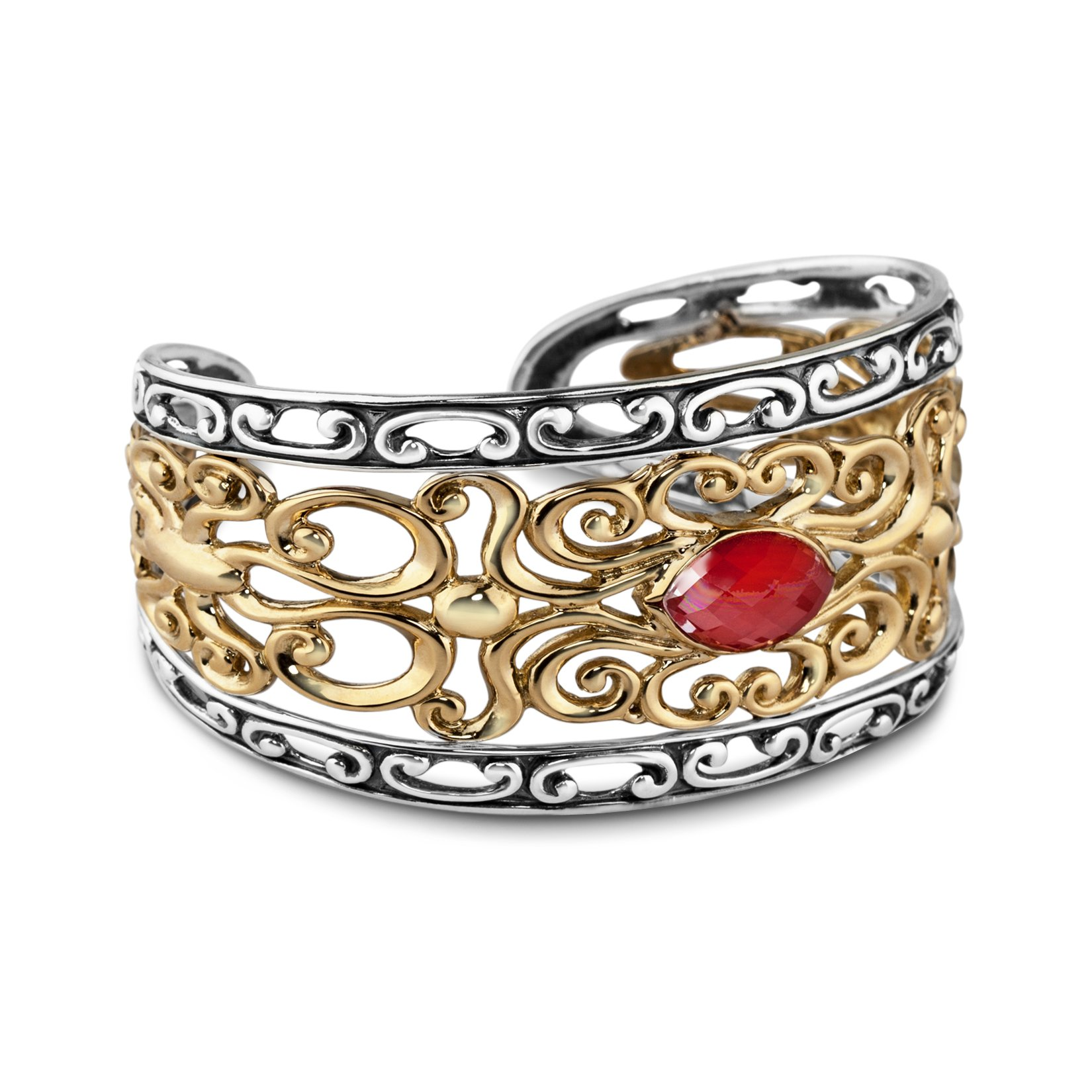 Carolyn Pollack Genuine .925 Sterling Silver Brass Red Coral Cuff Bracelet by Carolyn Pollack