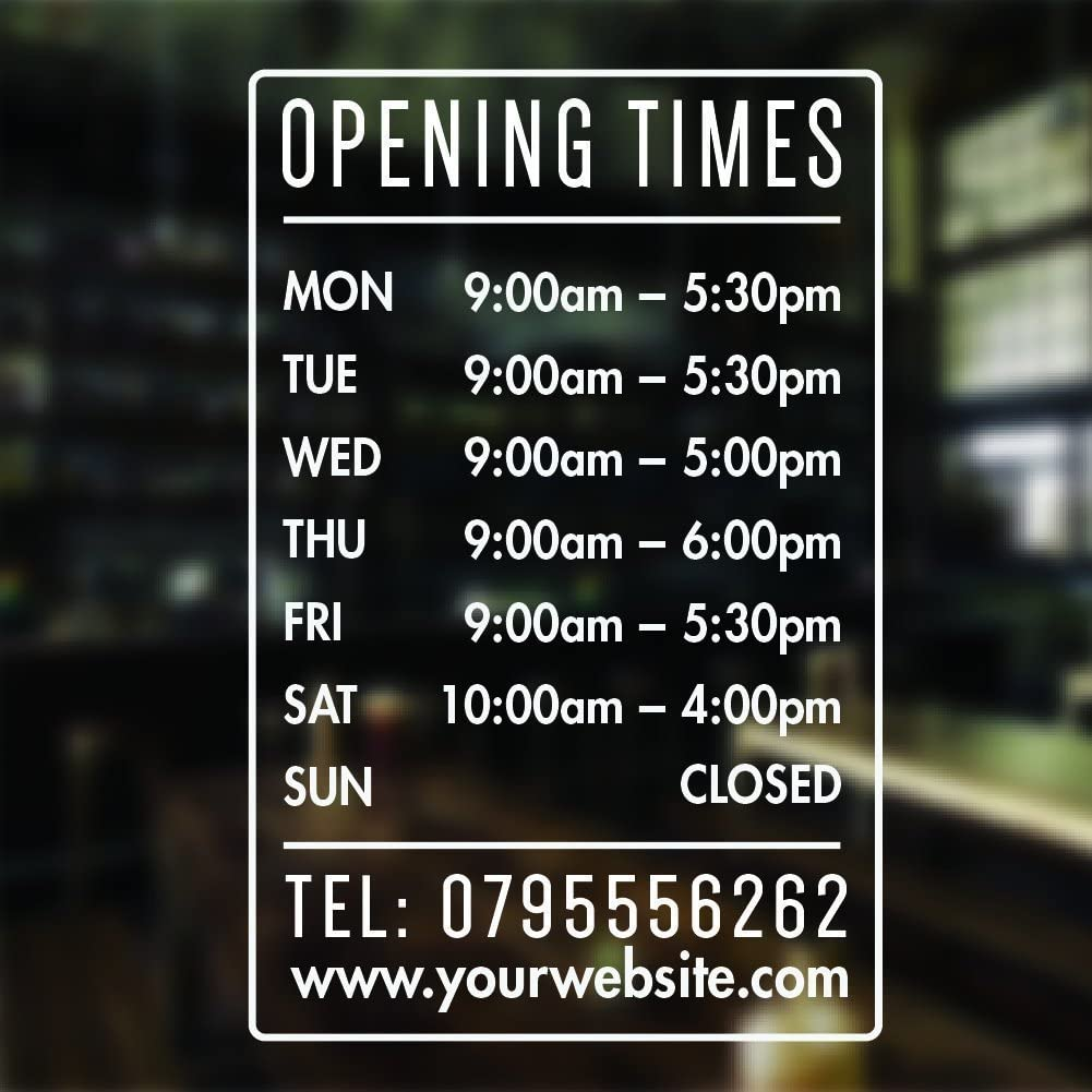 Custom Personalised Floral Business Opening Times Hours Vinyl Decal Window Sign
