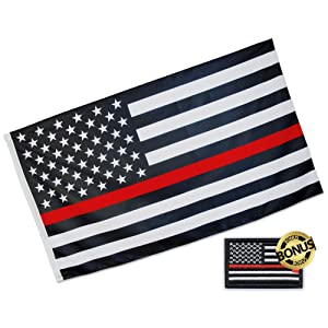 Eugenys Thin Red Line American Flag 3 x 5 Ft. - Free Firefighter Flag Patch Included - Quality Polyester, Vivid Colors, Durable Brass Grommets - Black White Red American US Honoring Firefighter Flag