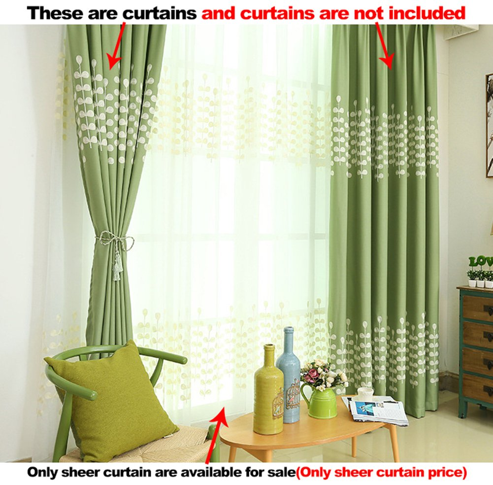 ASide BSide Sheer Curtains Pure Style Rod Pocket Top String Grass Embroidered Breathable Window Decoration For Houseroom Kitchen and Sitting Room (1 Panel, W 52 x L 63 inch, White)