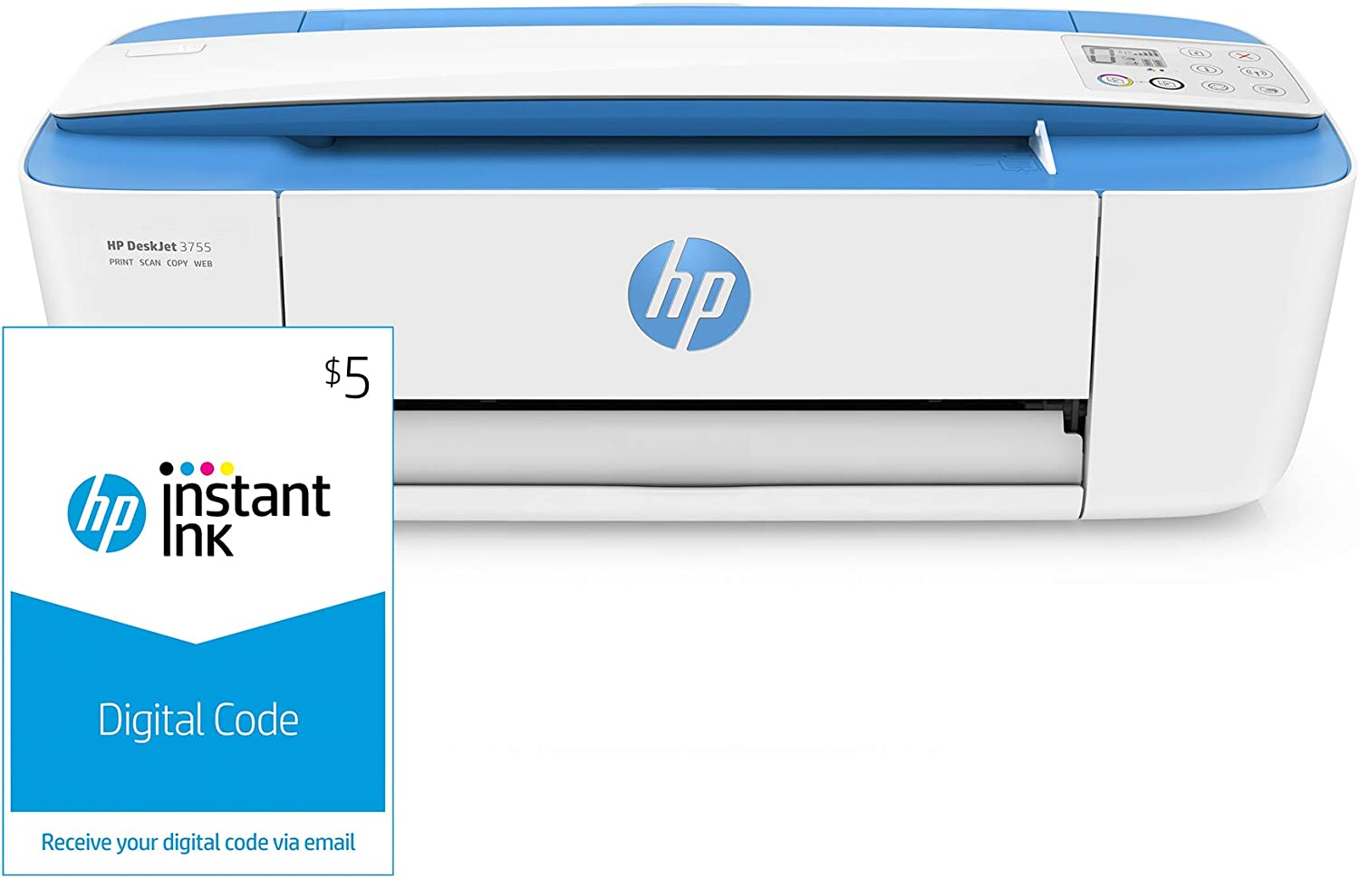 HP DeskJet 3755 Compact All-in-One Wireless Printer, HP Instant Ink & Amazon Dash Replenishment ready - Blue Accent (J9V90A) and Instant Ink $5 Prepaid Code
