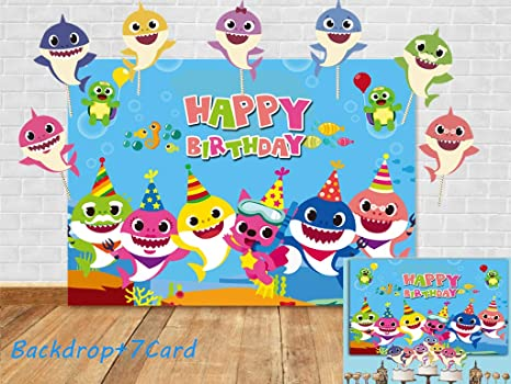 Fotupuul Blue Ocean Baby Shark Birthday Party Backdrop + Studio Props DIY Kit(7 Card)