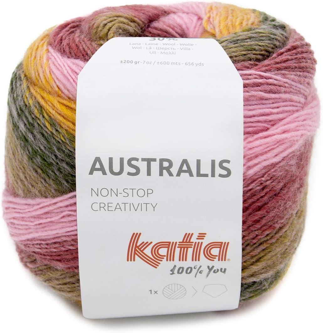 Katia Australis - Ovillo de lana con degradado para tejer o ganchillo, 200 g (200)