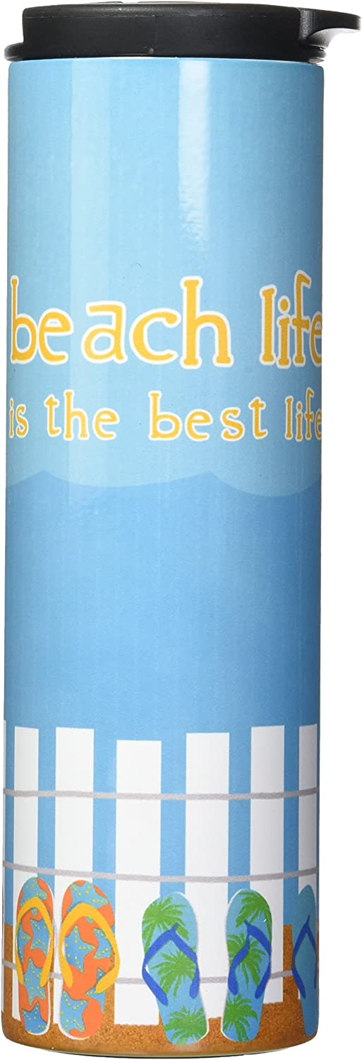 Tree-Free Greetings Barista Tumbler Vacuum Insulated, Stainless Steel Travel Coffee Mug/Cup, 17 Ounce, Beach Life