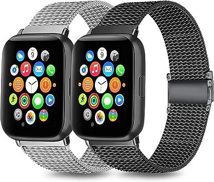 Mugust Pack 2 Correa Compatible con Apple Watch Correa 38mm 42mm 40mm 44mm, Malla de Acero Inoxidable Correa de Bucle con, para iWatch Serie 5/4/3/2/1 (42mm/44mm, 01 Negro+Plata): Amazon.es: Electrónica