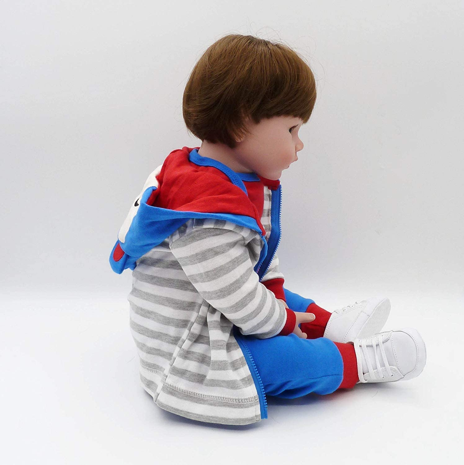 Reborn Toddler Boy 22inch Vinyl Silicone Baby Doll Brown Hair Blue Outfit 55cm Toy Gifts Set