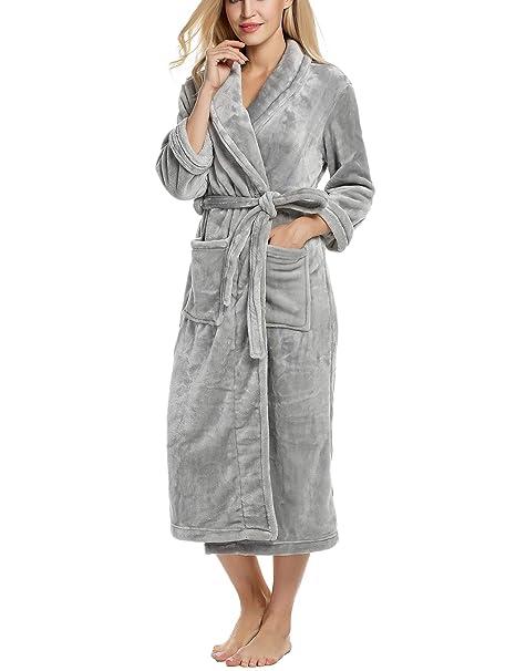 Ekouaer Unisex Fleece Robe Warm Plush Bathrobe Long Pajama for Winter Plus  Size at Amazon Women s Clothing store  a86b8054c