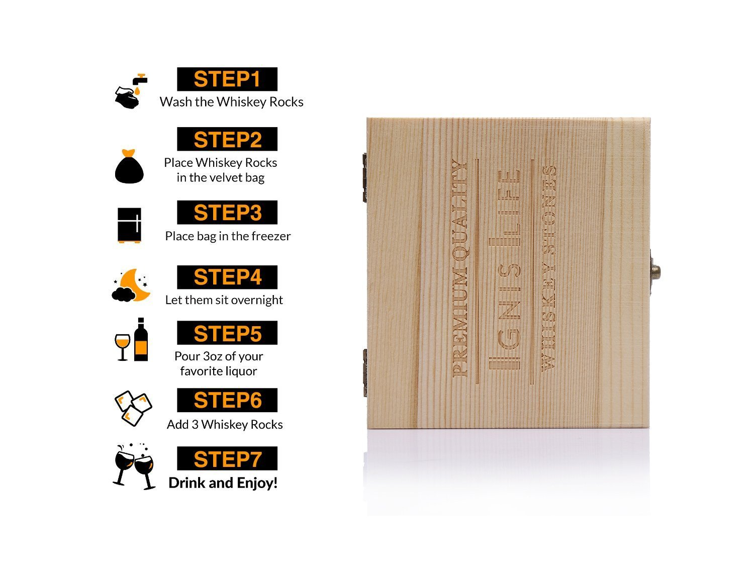 -With Clip and Gift Bag COMIN18JU034414 Set of 9 IgnisLife Premium Whiskey Stone Cooling Rocks Gift Set