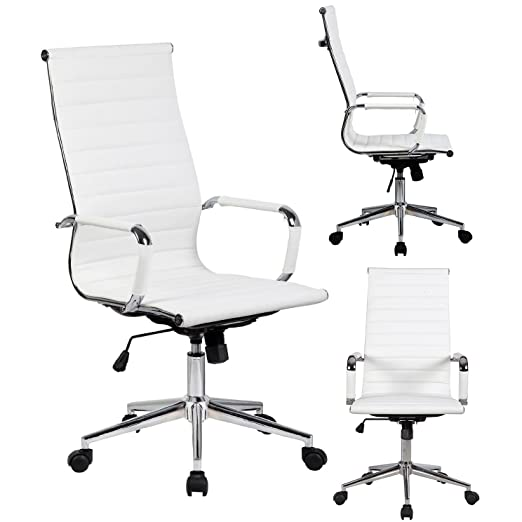 Amazon.com: 2xhome Modern High Back Ribbed PU Leather Tilt Adjustable  Office Chair With Wheels U0026 Arm Rest White: Kitchen U0026 Dining