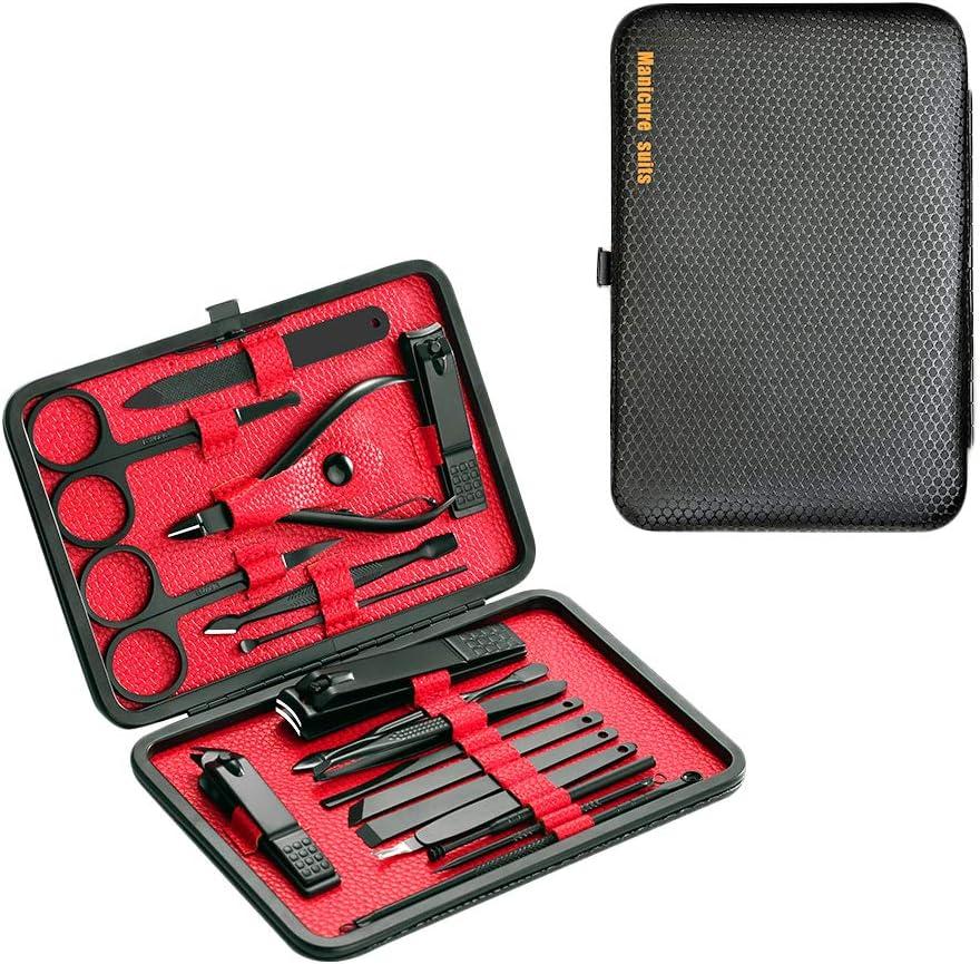 DoGeek Set Manicura Kit Manicura de 18 Piezas Acero Inoxidable Cortauña Manicura Pedicura Limpiador Cutícula Grooming Kit, Oído Recoger, Uñas Tijeras Con Caja de Cuero (18pcs) (18pcs)