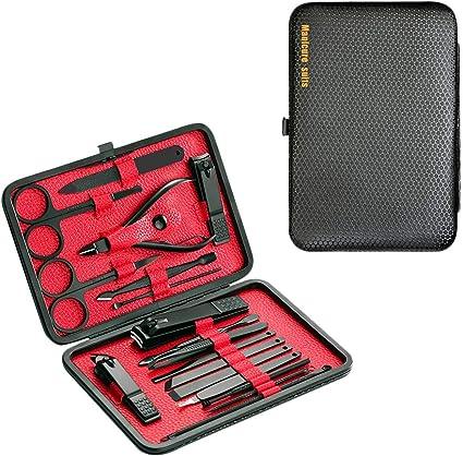 DoGeek Set Manicura Kit Manicura de 18 Piezas Acero Inoxidable Cortauña Manicura Pedicura Limpiador Cutícula Grooming Kit, Oído Recoger, Uñas Tijeras Con Caja de Cuero (18pcs) (18pcs): Amazon.es: Belleza