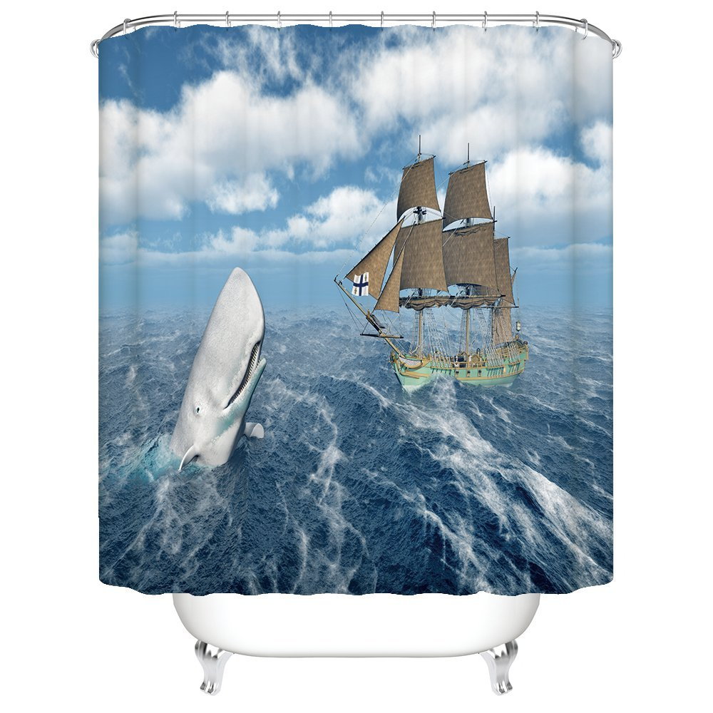Amazon Gwein Marine Life Blue Whale Boat Shower Curtain Polyester Fabric Mildew Proof Waterproof Cloth Room Decor Curtains 66x72 Home