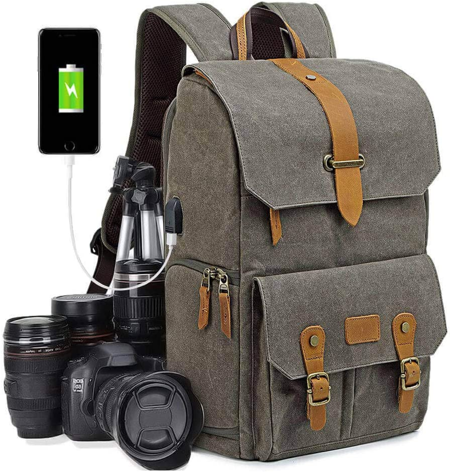 Camera Backpack Suviya DSLR Camera Bag Backpack Anti-Theft Water Resistant Shockproof with Quick Access Dual Compartments Fit SLR Cameras 3-6 Lenses and 14 Laptop Green