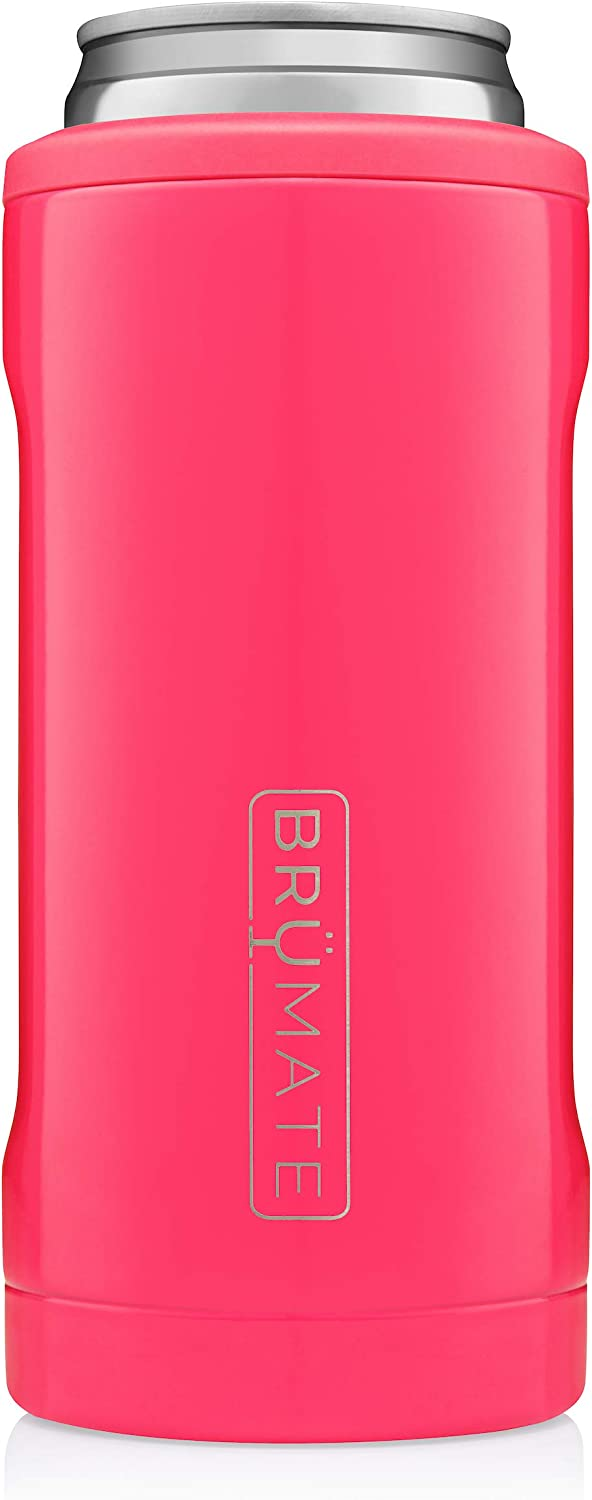 BrüMate Hopsulator Slim Double-walled Stainless Steel Insulated Can Cooler for 12 Oz Slim Cans (Neon Pink)