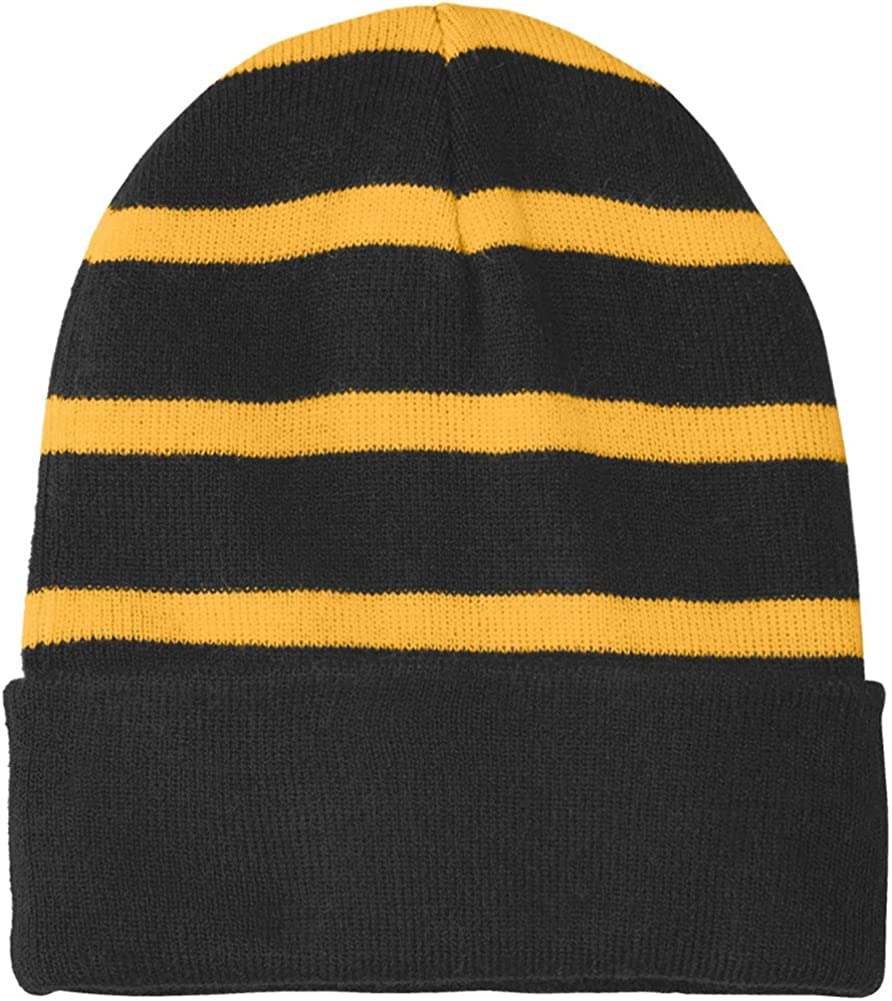Joes USA Fleece Lined Stripe Beanies in 16 Colors