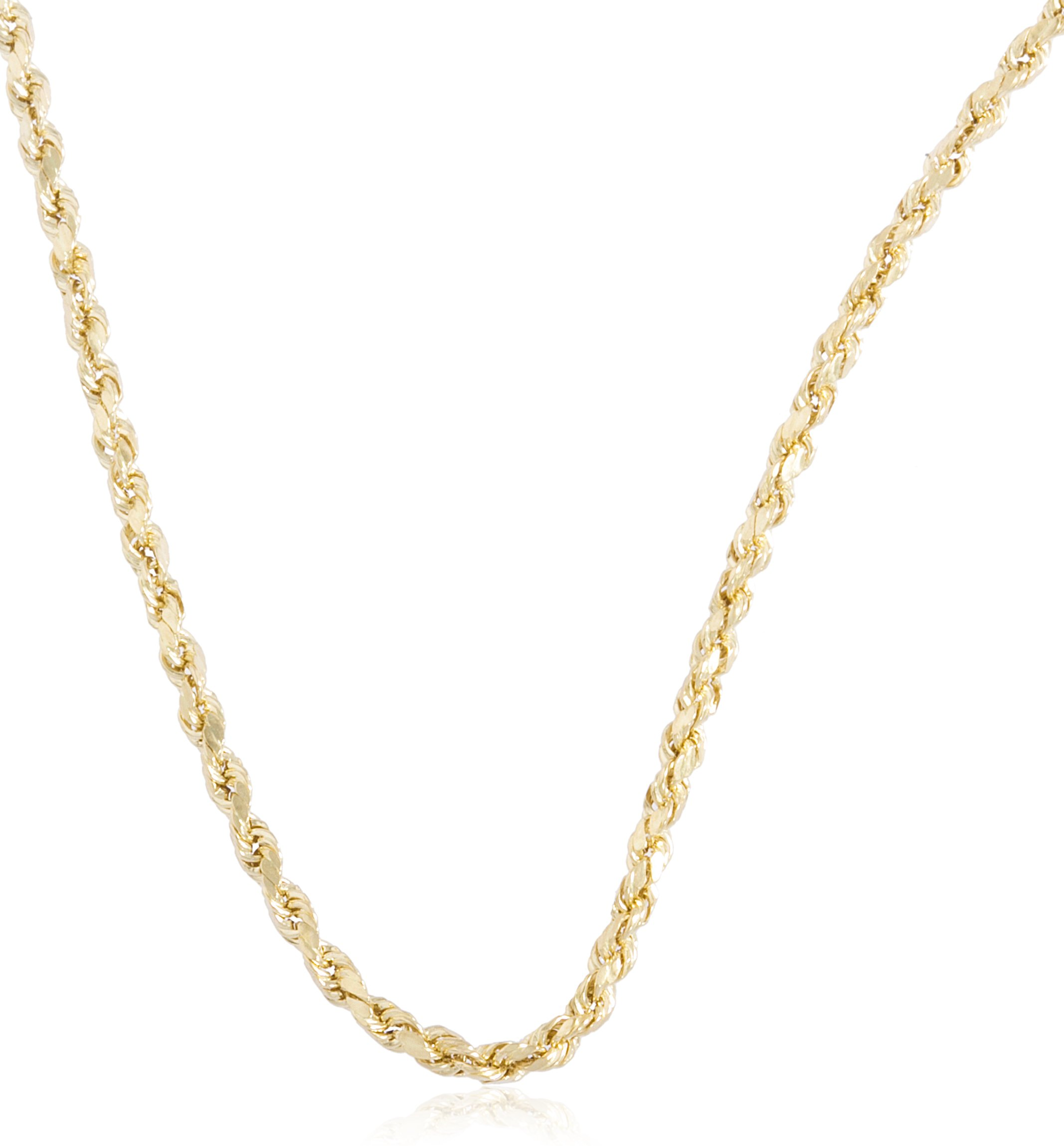 10k Yellow Gold 2mm D-cut Rope Chain Necklace - 18'' to 26'' Available (26 Inches) (GO-1253)