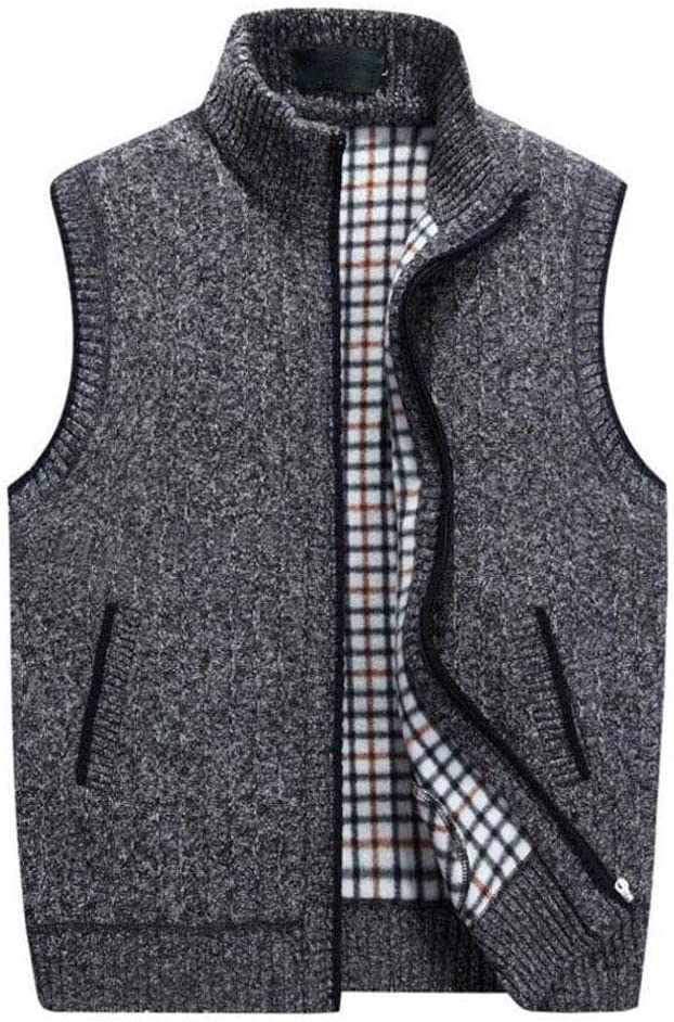 Couleur : Gray, Taille : XXXL Automne Hiver Chaud Pull Gilet Cadeau danniversaire du p/ère Taille M /à XXXXL Gilet de Laine tricot/é pour Hommes