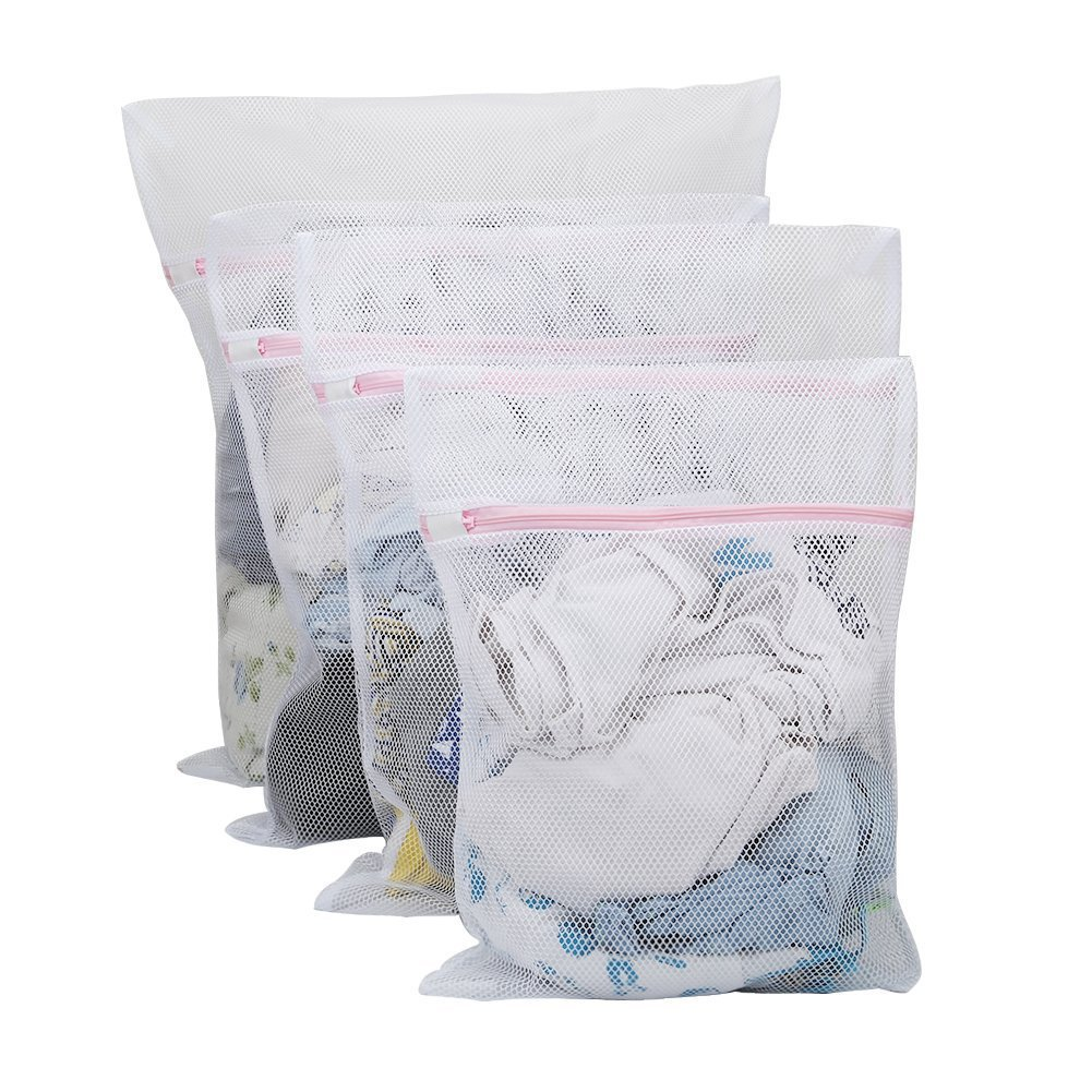 Vivifying Large Net Washing Bag, Set of 4 Durable Coarse Mesh Laundry Bag with Zip Closure for Clothes, Delicates (White)