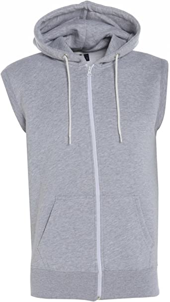 ASBAHFAHION Mens Boys Plain Zipper Fleece Sleeveless Hoodies Sweatshirt Gilet Hoodie