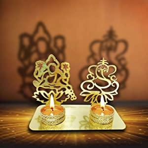 Lakshmi Ganesha (Shubh Labh) Diwali Shadow Diya. Deepawali Traditional Decorative Diya in Laxmi Ganesh Statue for Home/Office. Religious Tea Light Candle Holder Stand.Decoration Indian Gift Items