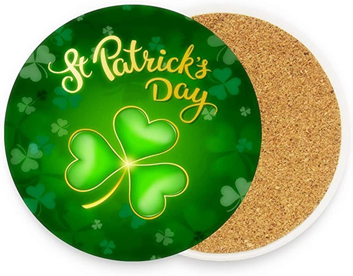 Kcldeci St Patrick's Day Green Clover Leaves Coasters for Drinks 4 Pieces Set Lucky ShamrocksIrish Leprechaun Bar Cup Coaster Coffee Mug Glass Pad Tabletop for Table Kitchen Dining Home Decor
