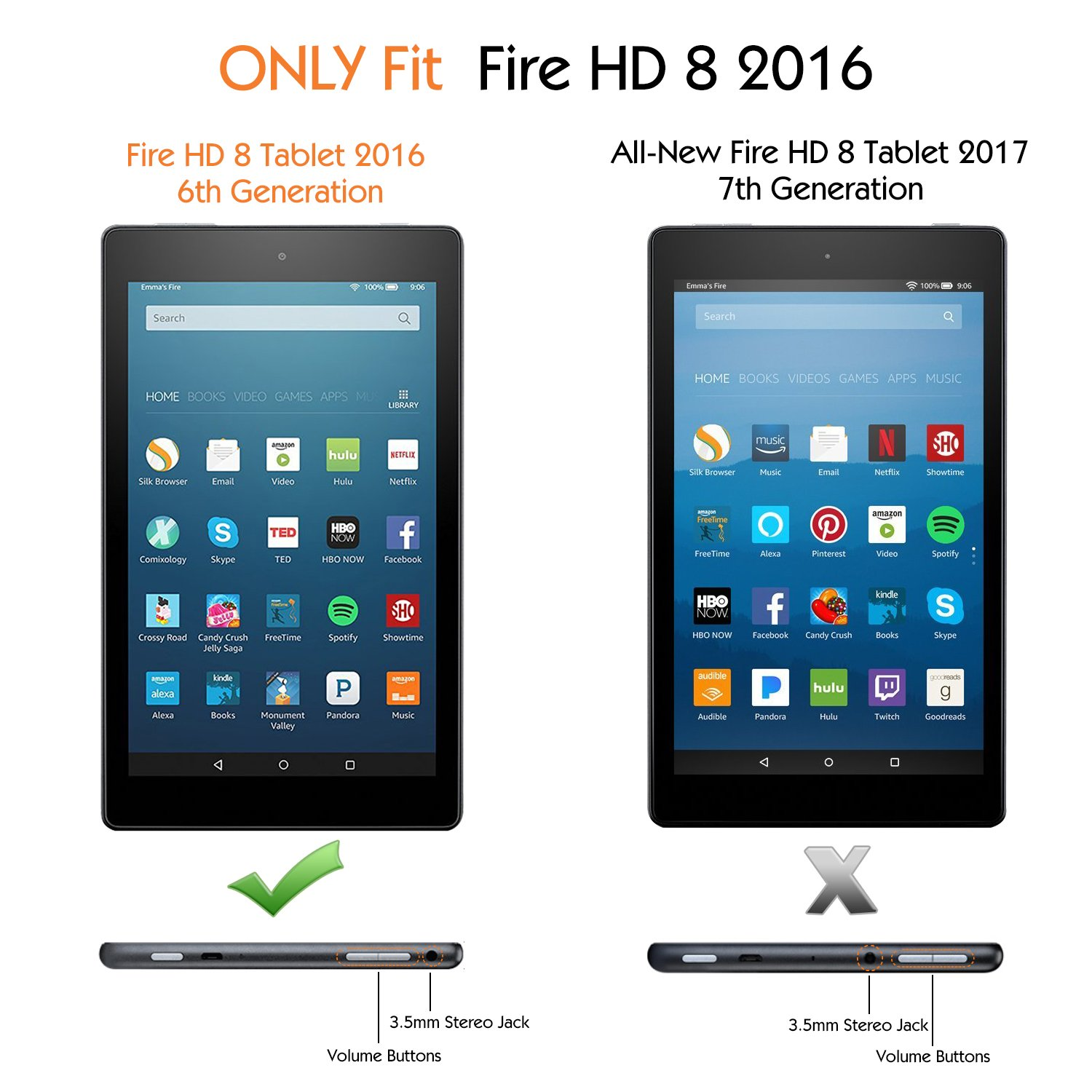 MoKo Case for Fire HD 8 2016 Tablet - Kids Shock Proof Convertible Handle Light Weight Protective Stand Cover for Fire HD 8 (Previous 6th Gen - 2016 ...