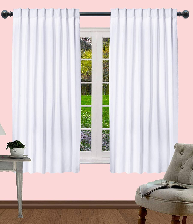 Kitchen Window Curtain Panel, Bedroom Window Curtains, Reverse Window Panels, Cotton Duck Curtain, 100% Pure Cotton Duck Reverse Tab Top Window Panels -50x63 Inch - White - Set of 2 Panels