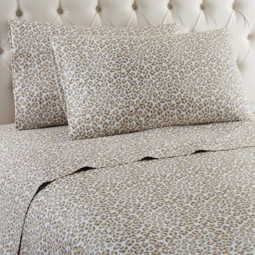 Rachel Zoe Luxury Micro Cotton Flannel Leopard Print 4-Piece Queen Sheet Set