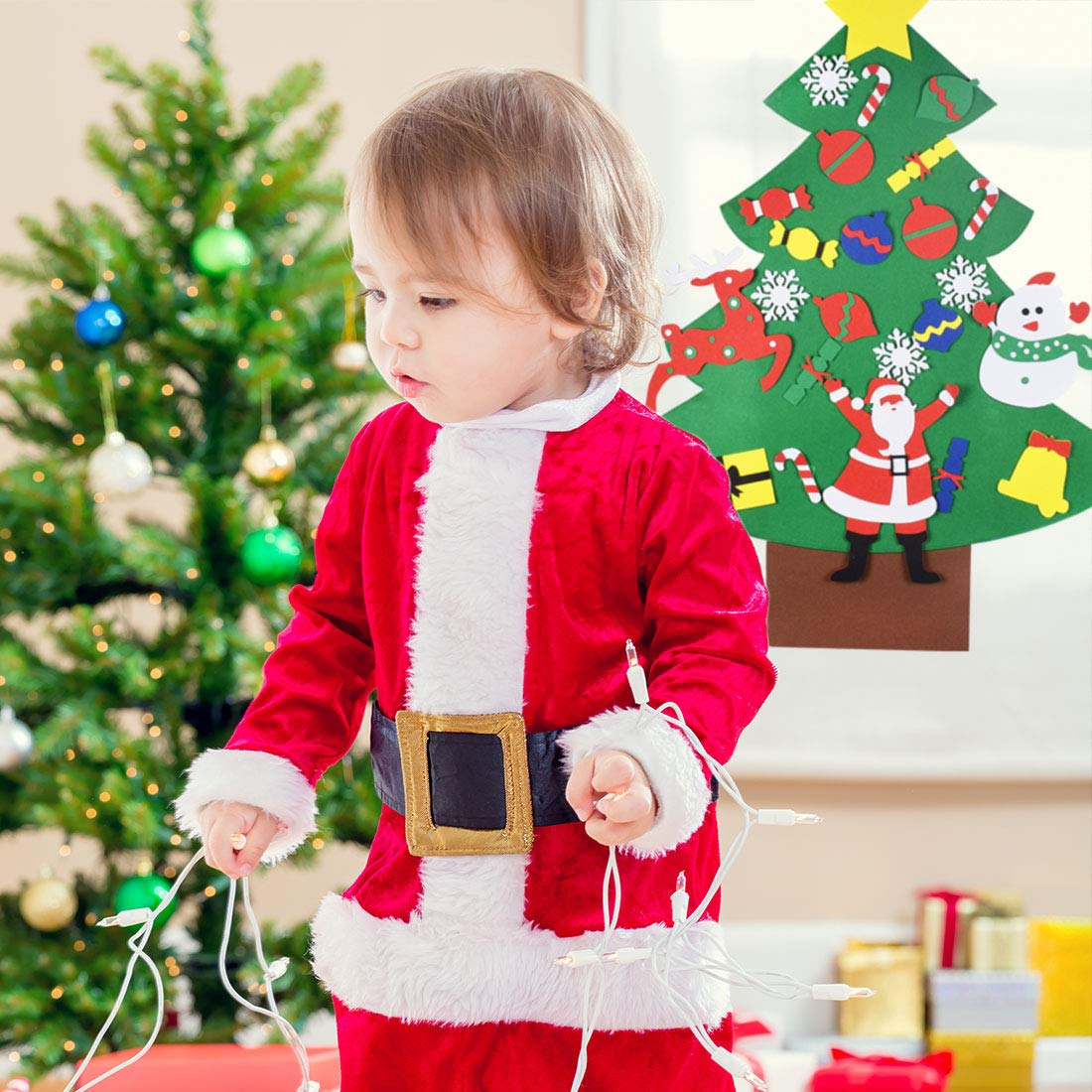 MGparty DIY Felt Christmas Tree, 3.1 Ft Christmas Tree Ornaments Wall Decor with Hanging Rope for Kids Xmas Gifts Home Door Decorations